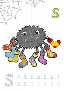 CB02 ABC Colouring Book Page - S Coloured WEB1