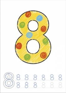 CB03 Number Colouring Book Page - 8 Coloured WEB1