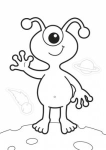 CB05 Make Believe Colouring Book Page - Alien Black WEB1