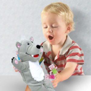 Big Bad Wolf & 3 Little Pigs Hand & Finger Puppet Set