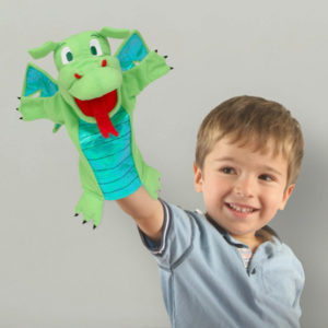 Green Dragon Moving Mouth Hand Puppet