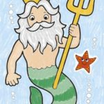 CB05 Make Believe Colouring Book Page – Neptune Coloured WEB1