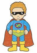 CB05 Make Believe Colouring Book Page – Superhero Coloured WEB1